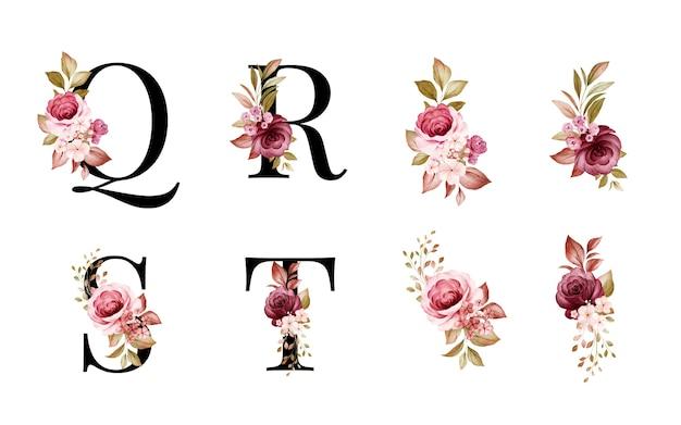 Conjunto de alfabeto floral em aquarela de q, r, s, t com flores vermelhas e marrons e folhas.