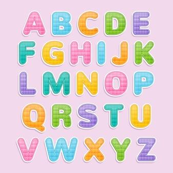 Conjunto de alfabeto fofo colorido