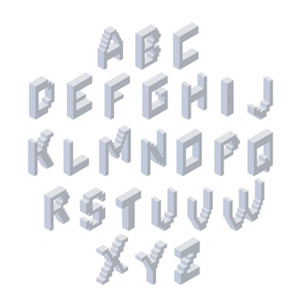 Conjunto de alfabeto. fonte 3d isométrica feita de blocos de plástico.