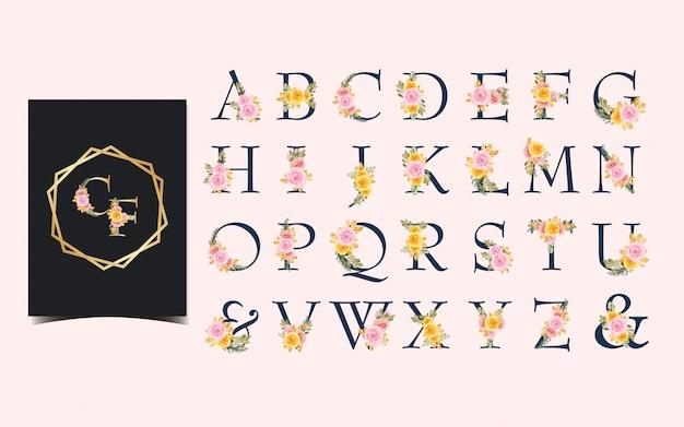 Conjunto de alfabeto individual com lindas flores em aquarela
