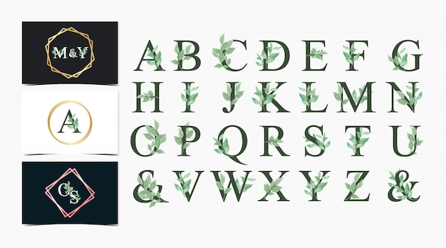 Conjunto de alfabeto individual floral em aquarela com vegetação
