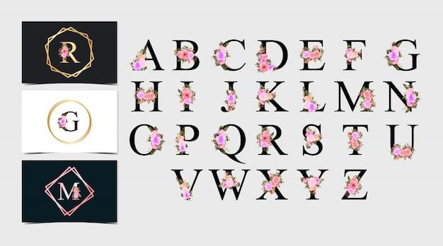 Conjunto de alfabeto individual floral em aquarela