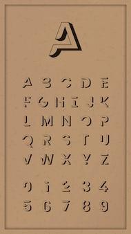 Conjunto de alfabeto na moda vintage