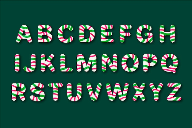 Conjunto de alfabeto natalino de cana doce
