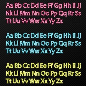 Conjunto de alfabeto neon de cores diferentes em fundo transparente