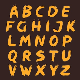 Conjunto de alfabeto pintado com um pincel. letras desenhadas à mão.