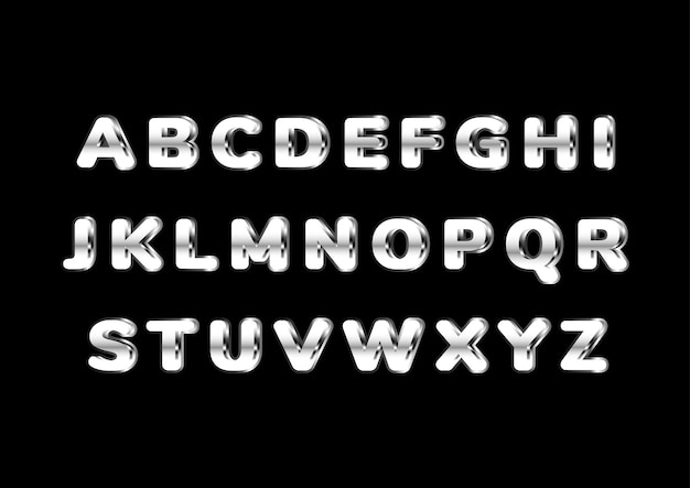 Conjunto de alfabeto prateado brilhante arredondado e negrito