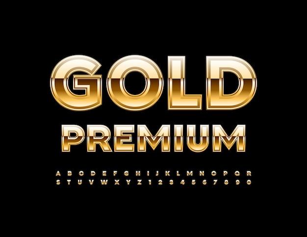 Conjunto de alfabeto premium de ouro de vetor fonte de elite criativa, letras e números de luxo texturizados