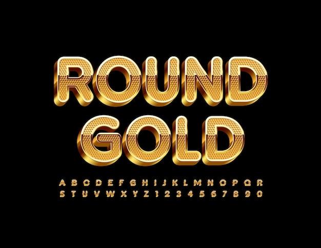 Conjunto de alfabeto redondo de ouro fonte premium texturizada letras e números luxuosos em 3d