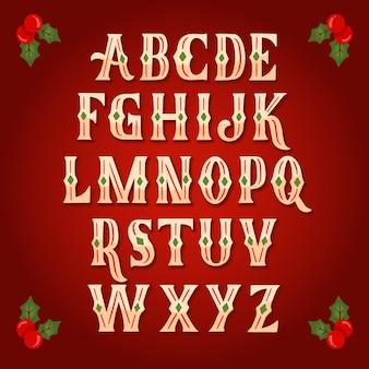Conjunto de alfabeto vintage de natal