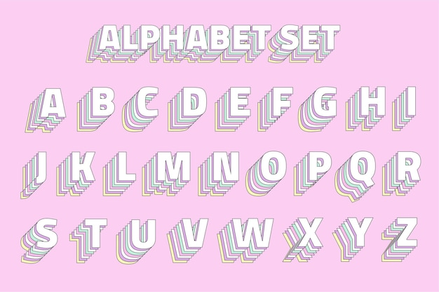 Conjunto de alfabeto vintage em camadas