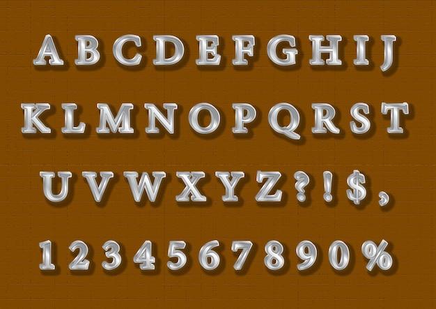 Conjunto de alfabetos 3d royal silver