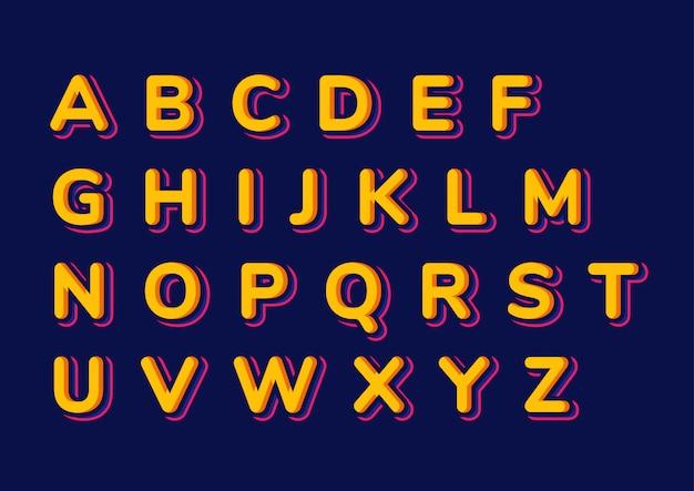 Conjunto de alfabetos de crianças coloridas