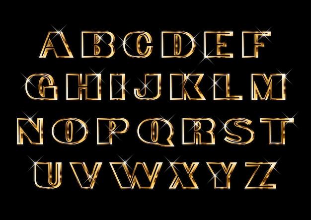Conjunto de alfabetos de ouro clássico elegante deco