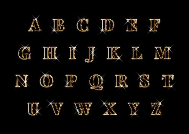 Conjunto de alfabetos de ouro elegante 3d de luxo