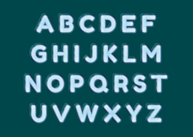 Conjunto de alfabetos de vidro gelado congelado