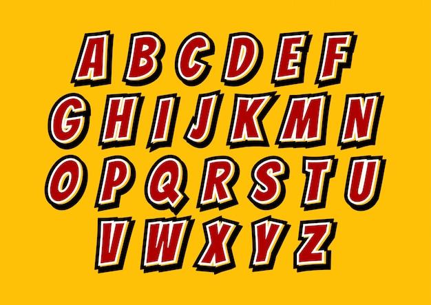Conjunto de alfabetos dos desenhos animados em quadrinhos