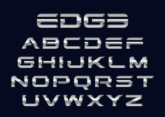 Conjunto de alfabetos futurista de cromo 3d