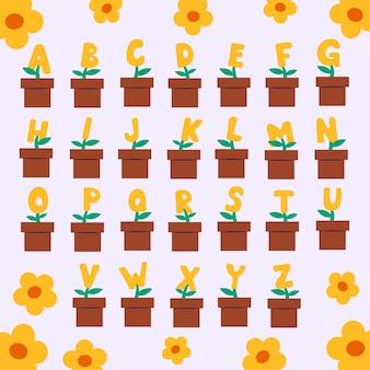Conjunto de alfabetos ingleses de diferença engraçada de desenho animado com letras maiúsculas para a educação de crianças em vaso de flores