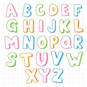 Conjunto de alfabetos ingleses de diferença engraçada de desenho animado com letras maiúsculas para a educação de crianças