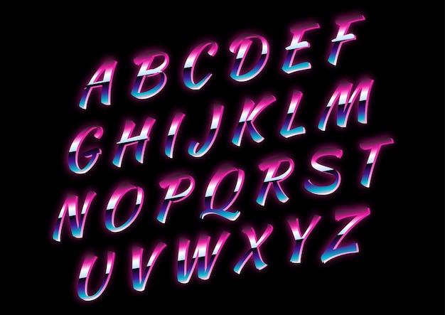 Conjunto de alfabetos retrô script futuro