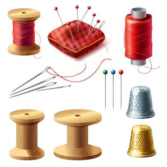 Conjunto de alfaiate realista 3d. carretel de madeira com fios, agulhas para costura, bordado