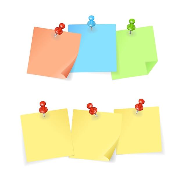 Conjunto de alfinetes e papel colorido.