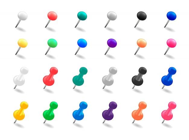 Conjunto de alfinetes. pinos de percevejo coloridos.