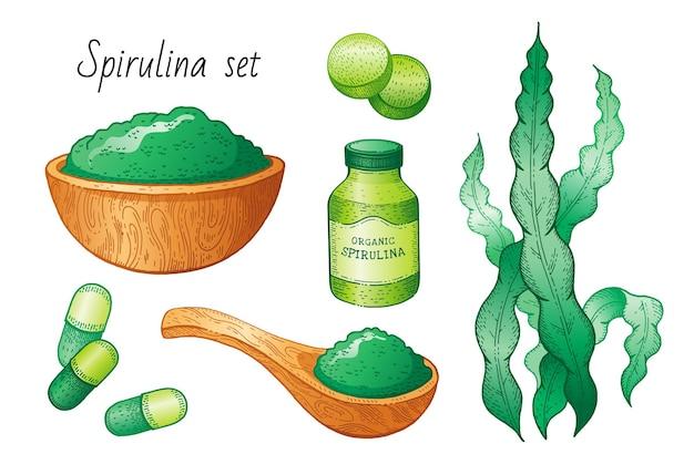 Conjunto de algas espirulina.