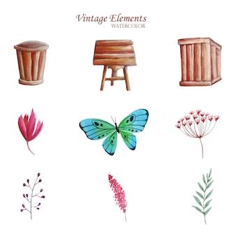 Conjunto de alguns elementos vintage aquarela