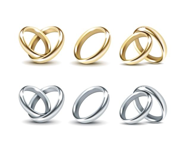 Conjunto de alianças de ouro e prata, isolado no branco