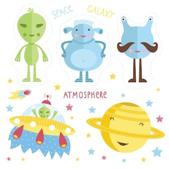 Conjunto de alienígenas dos desenhos animados