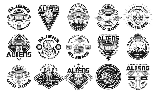 Conjunto de alienígenas e ovnis de quinze emblemas, etiquetas, emblemas ou logotipos de vetor em estilo vintage monocromático isolado no fundo branco
