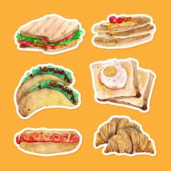 Conjunto de alimentos aquarela desenhados à mão