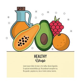 Conjunto de alimentos azeite e frutas uvas de mamoeiro e laranja e abacate