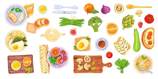 Conjunto de alimentos com pratos saudáveis, elementos de café da manhã e brunch, legumes, frutas e bebidas