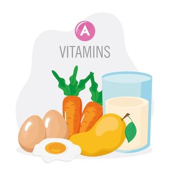 Conjunto de alimentos com vitamina a