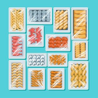 Conjunto de alimentos congelados na vista superior