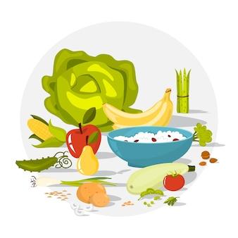 Conjunto de alimentos de fibra. feijão e brócolis, arroz