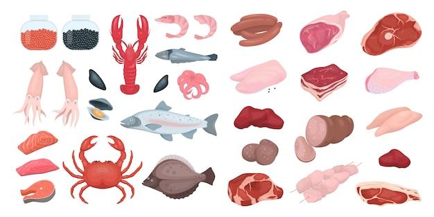 Conjunto de alimentos de peixe e carne. coleção de deliciosa refeição fresca