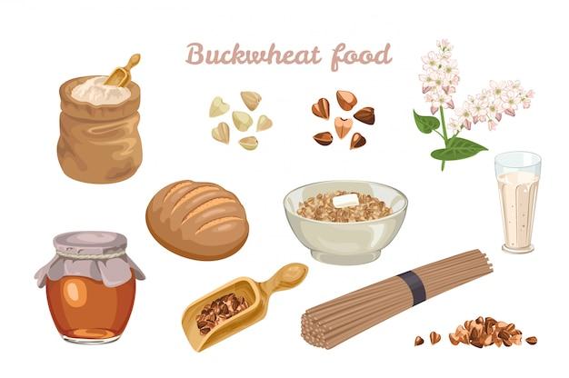 Conjunto de alimentos de trigo mourisco.