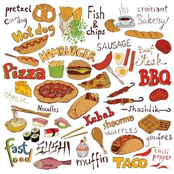 Conjunto de alimentos e inscrições doodle