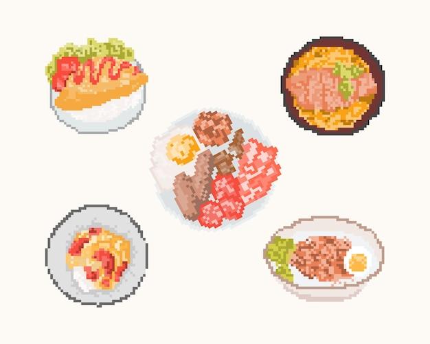 Conjunto de alimentos em pixel art. 8 bits art.