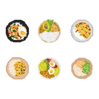 Conjunto de alimentos em pixel art. arte 8 bits