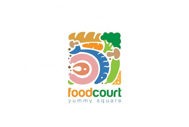 Conjunto de alimentos ícone plana do logotipo quadrado