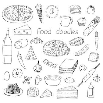 Conjunto de alimentos, ilustração vetorial de mão desenhando rabiscos