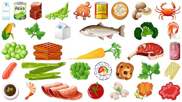 Conjunto de alimentos isolados