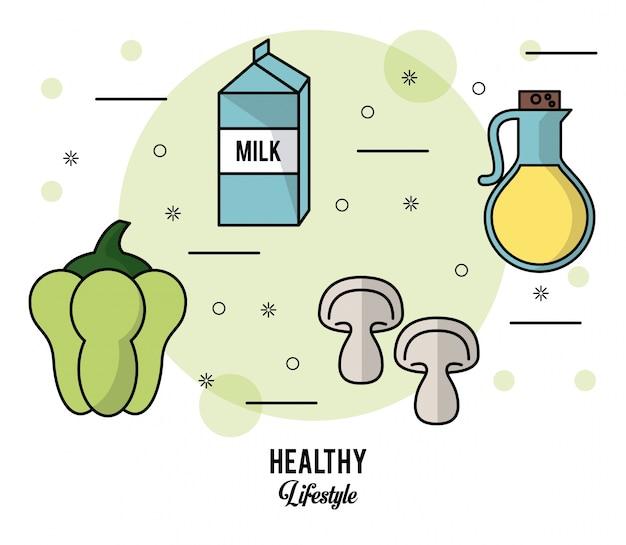 Conjunto de alimentos leite caixa pimenta cogumelo e azeite