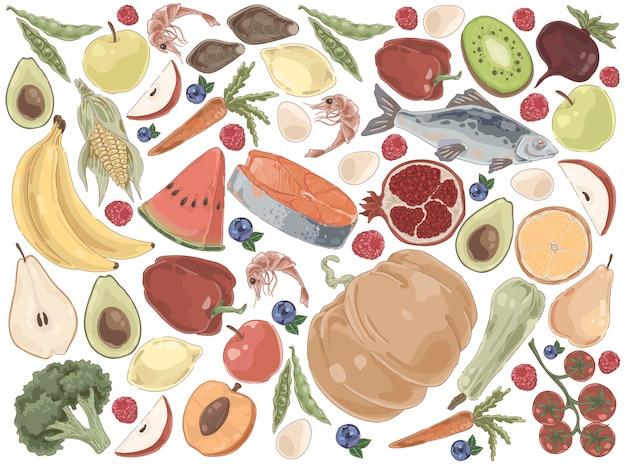 Conjunto de alimentos orgânicos de produtos naturais