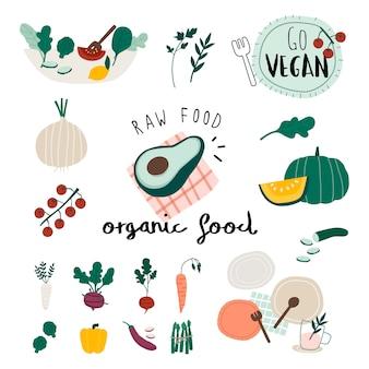 Conjunto de alimentos orgânicos vegan